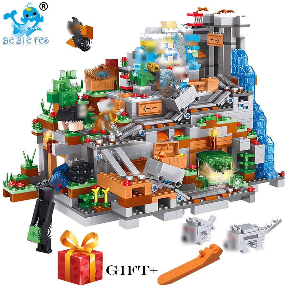 My World MinecraftING Cave Building Blocks Compatible with legoergy MinecraftING Aminal Alex Action Figures Toys For