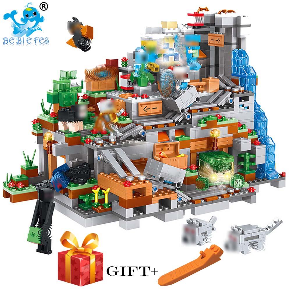 Mon Monde MinecraftING Grotte Blocs de Construction Compatible avec LegoING MinecraftING Aminal Alex Figurines Jouets Pour Enfants