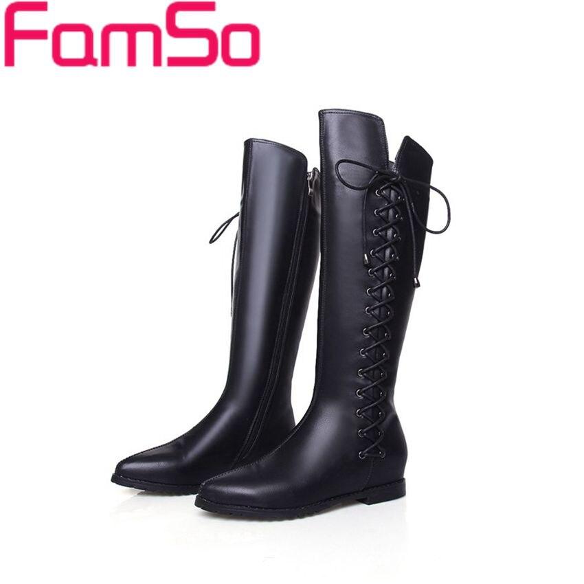 Plus Size34 43 2016 New Arrival font b Women b font genuine leather Boots black Flats