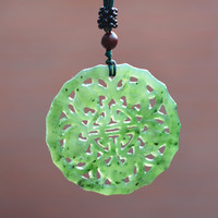 Certificate Natural Dark Green HETIAN Jade Pendant Hand Carved Lucky Amulet Pendants Necklace For Women
