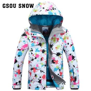 b7f0e2d9e49b7 GSOU зимние Одноплатные женские лыжные костюмы ветрозащитные зимние  водонепроницаемые теплые ультра легкие лыжные куртки зимние пальто