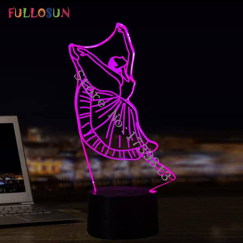 발레 소녀 3D 야간 조명 아름다운 댄스 LED 테이블 램프 7 색 USB 3D 램프 아이 아기 선물 방 데코
