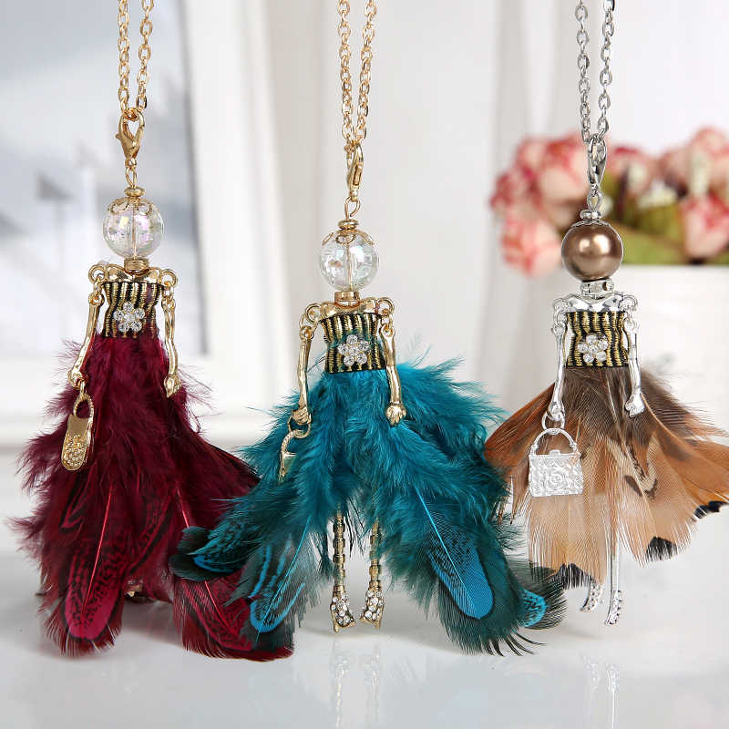 6a2e7a0eb149a French Paris Vintage Necklace Dress Long Chain Doll Statement Choker  Pendant Fashion Jewelry Big Tassel Necklace for Women 2018