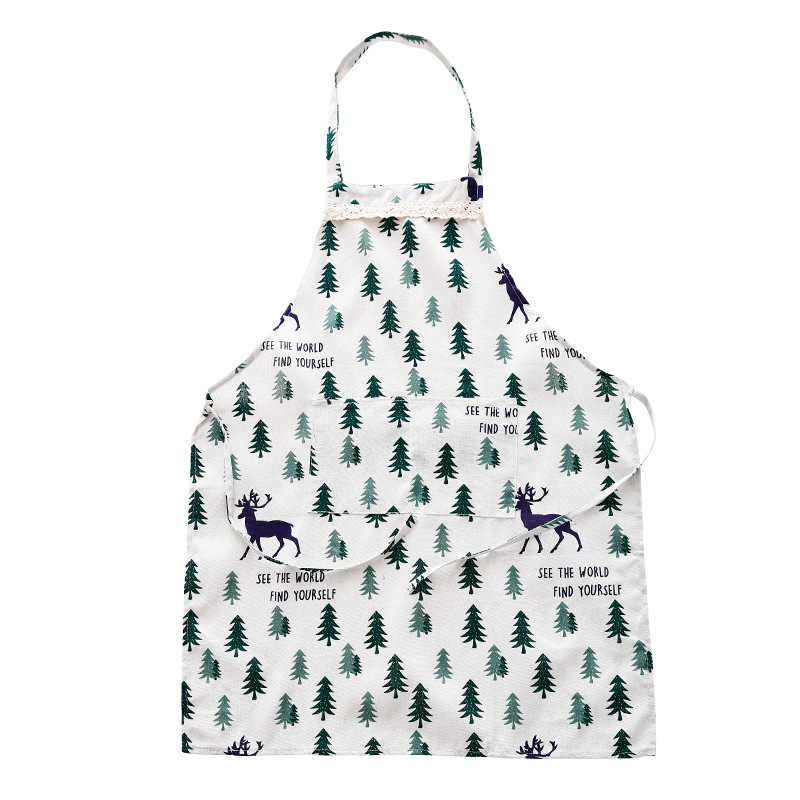 New small fresh oil-proof cooking apron kitchen cloth fashion apron creative home adult protective cover
