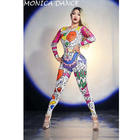 Women Sexy Cartoon Doodle Jumpsuit Outfit Female Singer Performance Party Wear Dance Stage Costume Bodysuit Prom Dance Leggings