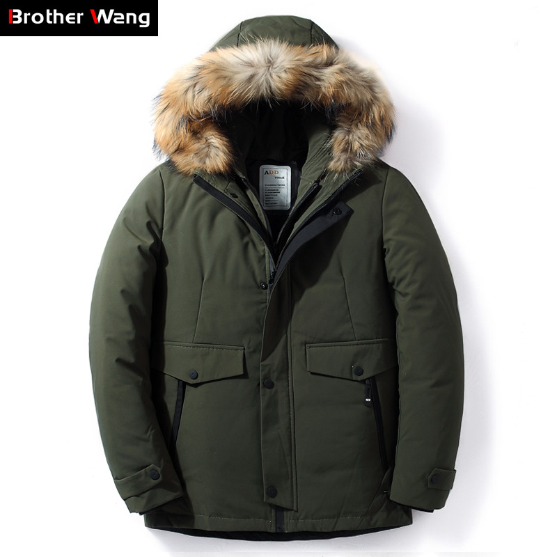 2019 Winter New Men Fur Collar Hooded   Down   Jacket Fashion Casual Thick Warm White Duck   Down     Coat   Brand Clothes Black Green