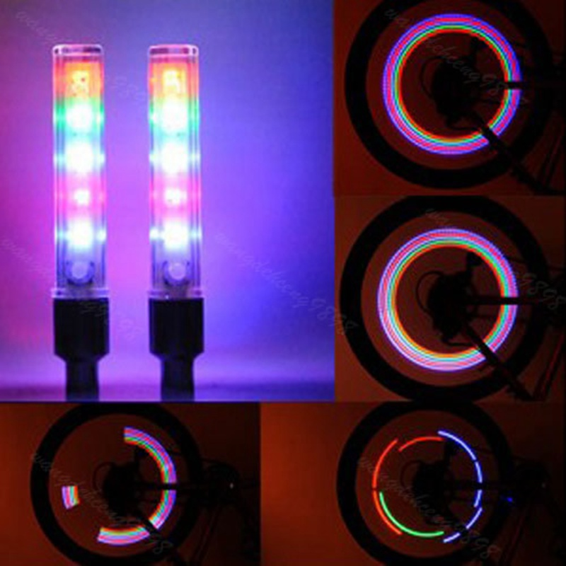 2pcs Wheel Spoke Lamp 5 Leds Bike Bicycle Tire Valve Cap Tube Neon Lights Cool Bicycle Accessories