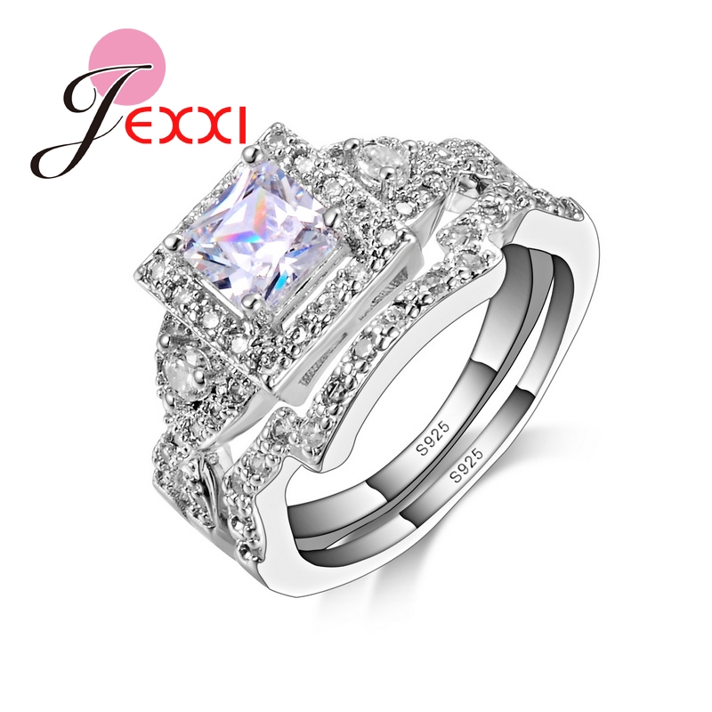 High Quality Fashion Clic 925 Sterling Silver Wedding Ring Sets For Women Square Cz Crystal Bridal Engagement In Rings From Jewelry