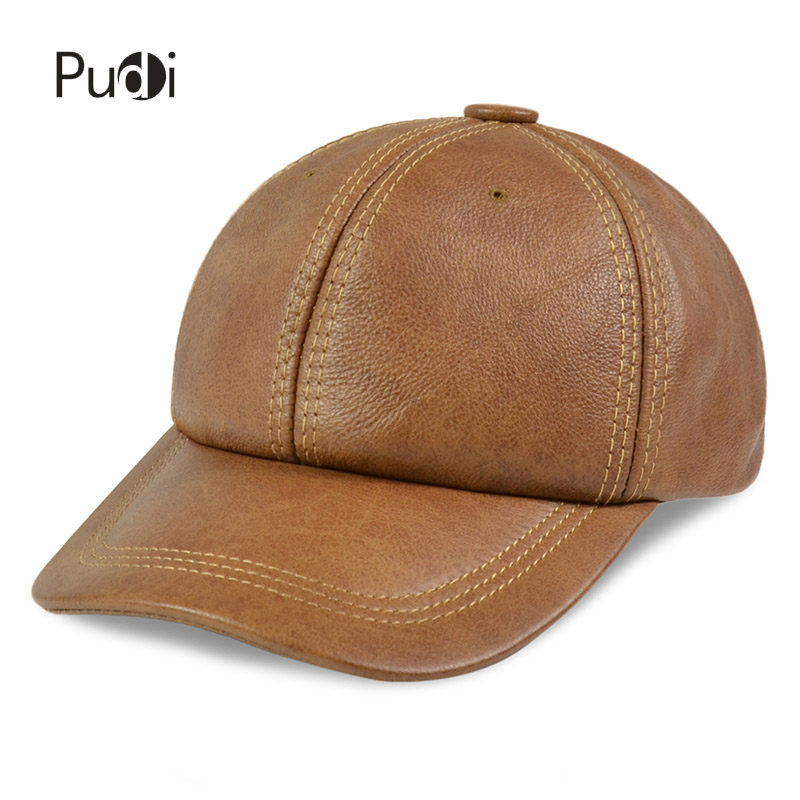 HL176 Genuine real leather men's caps hats 2017 brand new style baseball cap hat one size with 3 colors aorice autumn winter men caps genuine leather baseball cap brand new men s real cow skin leather hats warm hat 4 colors hl131