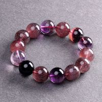 Genuine Natural Super 7 Seven Crystal Melody Stone Round Beads Women Healing Stone Charm Bracelet 15mm AAAAA