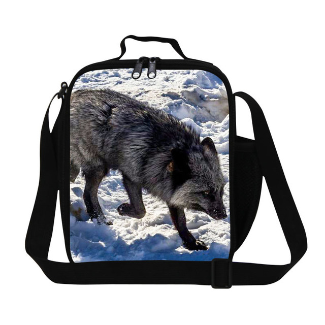 New designer cool fox printing lunch bags for girls kids,children's fashion picnic bag for food,best insulated meal bag for work