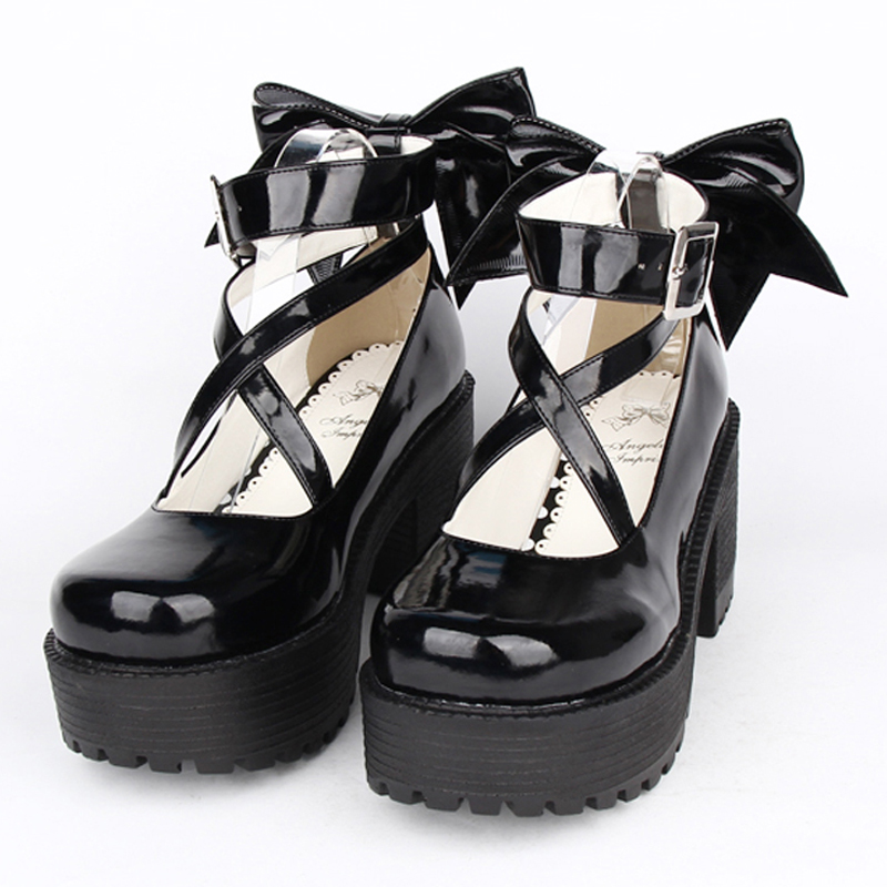 female spring Autumn anime lolita cosplay shoes leather Princess women heeled shoes Bow high heels platform shoes