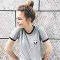 2017 nueva impresión de la camiseta t-shirt de viento mujeres de la camiseta de veinte un piloto kawaii caballo blusa entallada raya Niña coreana japonesa ropa