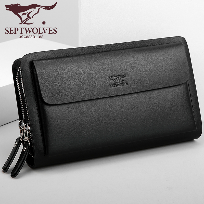 Septwolves fashion brand men bag split leather large capacity double zipper men clutch bags business male handbag недорго, оригинальная цена