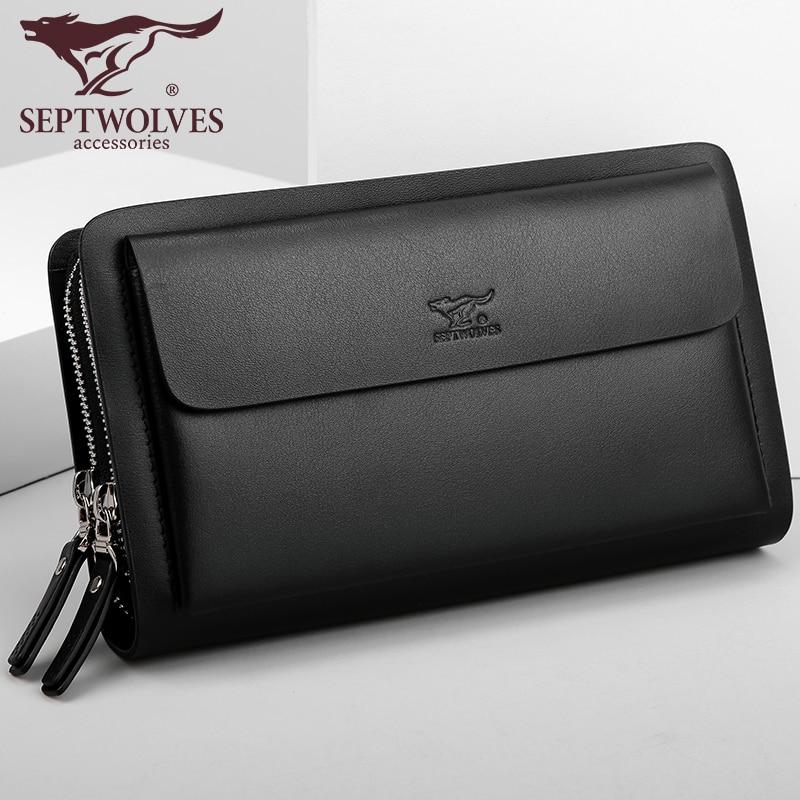 купить Septwolves fashion brand men bag split leather large capacity double zipper men clutch bags business male handbag по цене 6092.58 рублей