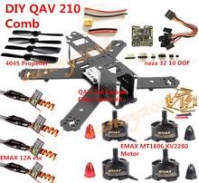 DIY QAV210 Carbon Fiber Frame Kit NAZA 32 10 DOF EMAX MT1806 Motor BLHELI 12A ESC