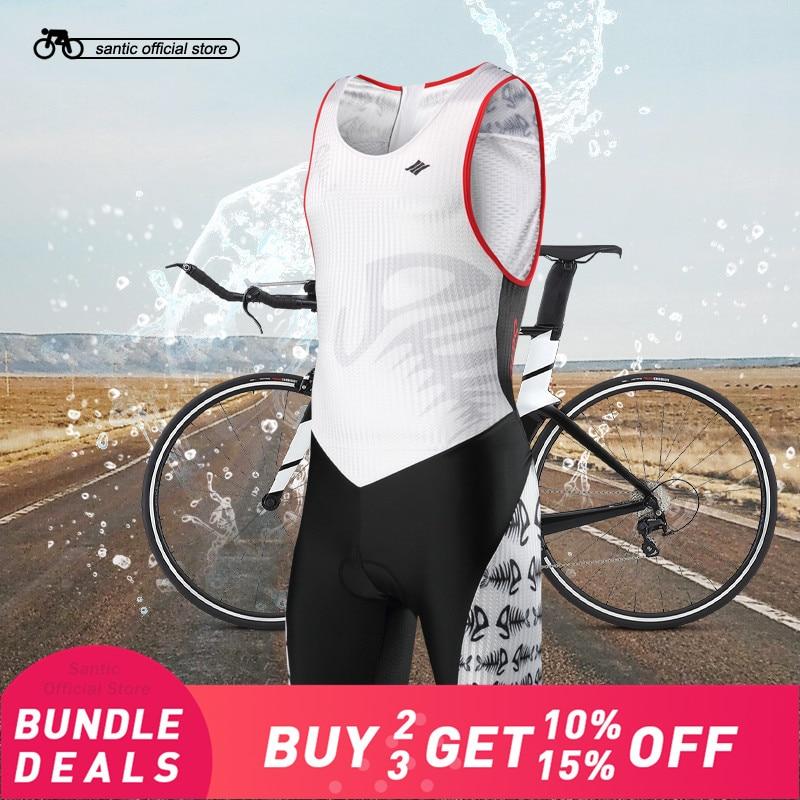 Santic Men Triathlon Sleeveless Cycling Padded Jerseys Quick Dry Skinsuit 4D Pad Bike Jerseys for Swimming