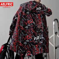 AELFRIC chaqueta Extra larga Trench Men Full Letter Print moda Harajuku rompevientos club nocturno abrigo hombre Casual Outwear KJ166