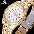 Forsining 2017 moda casual mulheres marca de relógios relógio de quartzo negócio relógio mostrador branco numerais romanos relógios de pulso para as mulheres
