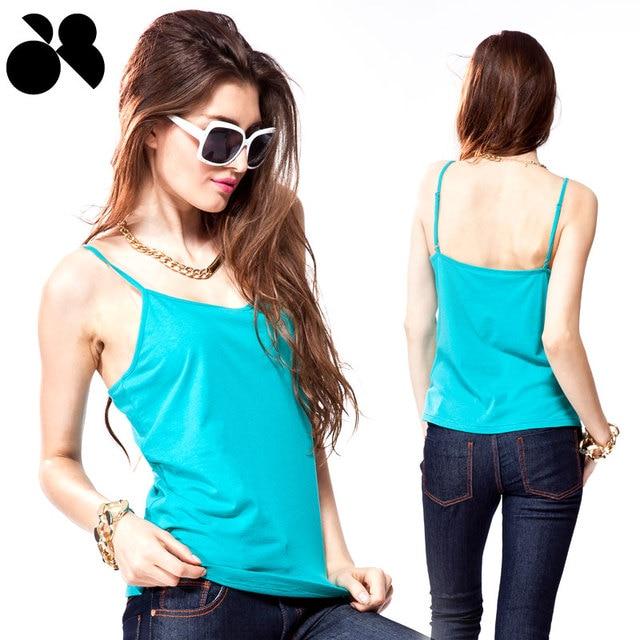 Fashion 2013 women's 100% thin cotton basic top spaghetti strap little vest
