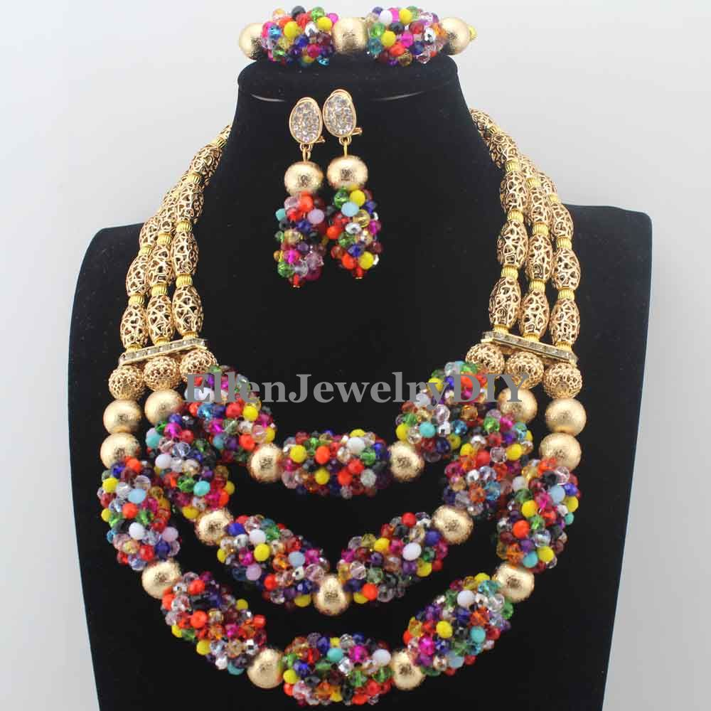 Trendy New African Wedding Colorful/Chocolate Handmade Crystal Beads Jewelry Sets Necklace African Accessory Free ShippingW13726