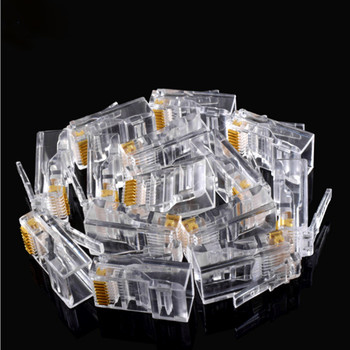 100PCS Crystal 8Pin RJ45 Modular Plug Rj-45 Network Cable Connector Adapter for Cat5 Cat5e Cat6 Rj 45 Ethernet Cable Plugs Heads 1