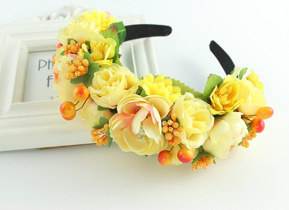 Rosa amarelo roxo coroa boho coroa tiara headband da flor Guirlanda de Casamento acessórios para o cabelo Trançado mulheres Coroa Floral