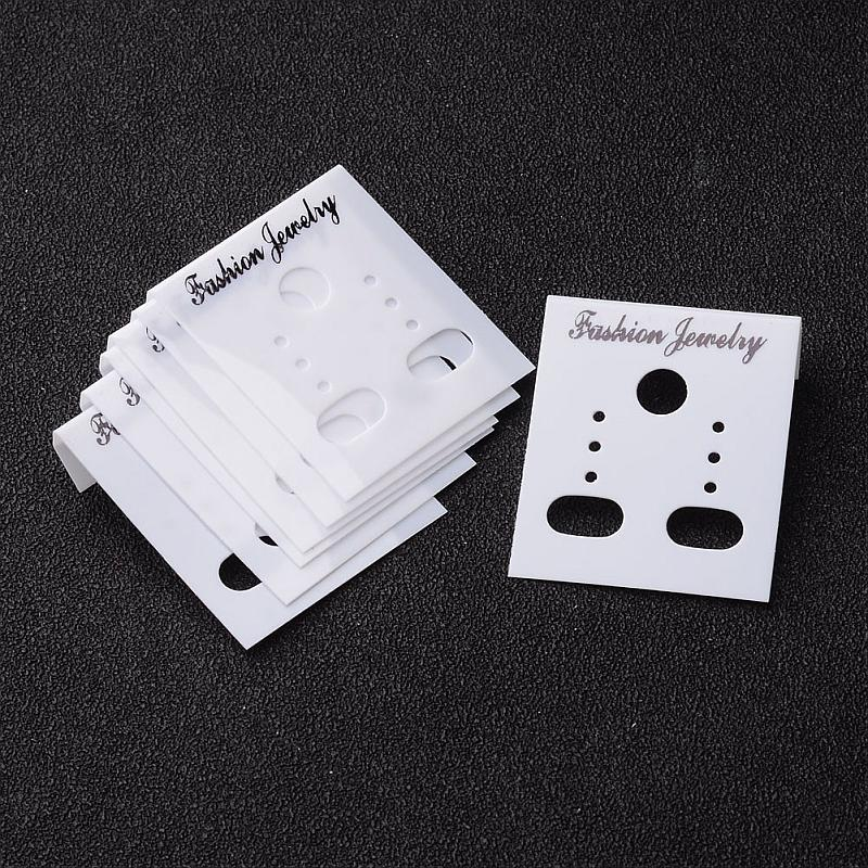 100pcs Jewelry Findings Plastic Display Card, Used for Earstud, Earring and Earring pendant, White,Black, 38mm long, 30mm wide
