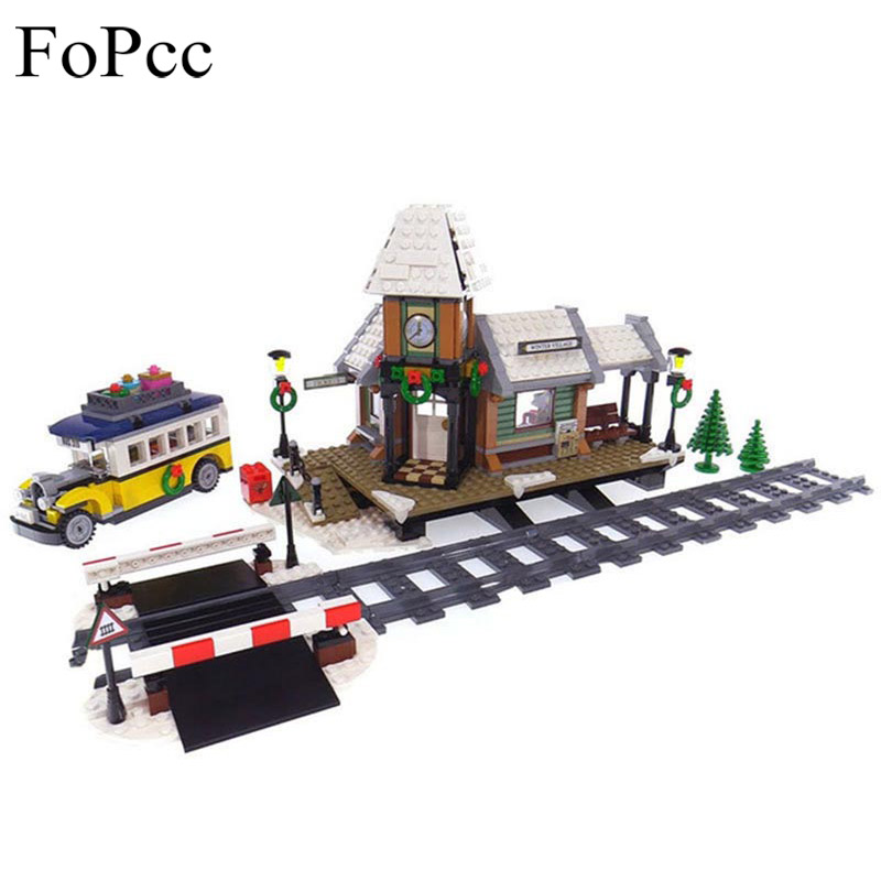 Children Toys 36011 1010Pcs The Winter Village Station Set Creative Series Building Blocks Bricks Educational Toys Legoings Gift large fire station building blocks bricks educational toys learning education baby 2 5 years constructor set toys for children