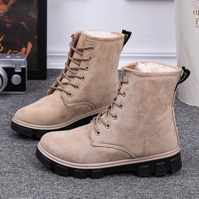 women snow boots winter warm Leather Casual thick bottom platform waterproof ankle for fur cotton shoes