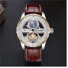 Creative שקוף גברים מכאני עצמי מתפתל שעונים אוטומטי Tourbillon שעון אמיתי עור עמיד למים Montre ירח שלב
