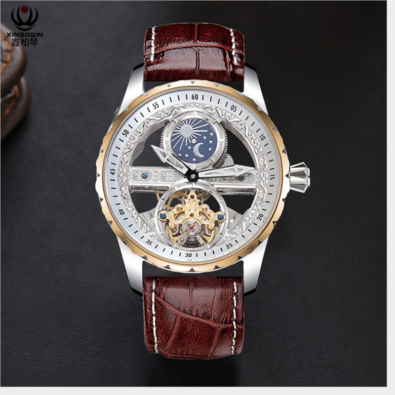 Creative Transparent Men Mechanical Self Winding Watches  Automatic Tourbillon Watch Real Leather Waterproof Montre Moon  PhaseSports Watches