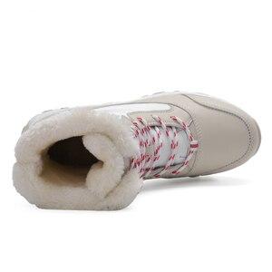 Image 4 - 2019 נשים שלג מגפי חורף מגפיים חמים עבה תחתון עמיד למים פלטפורמת קרסול מגפי נשים עבה פרווה כותנה נעלי גודל 35 42