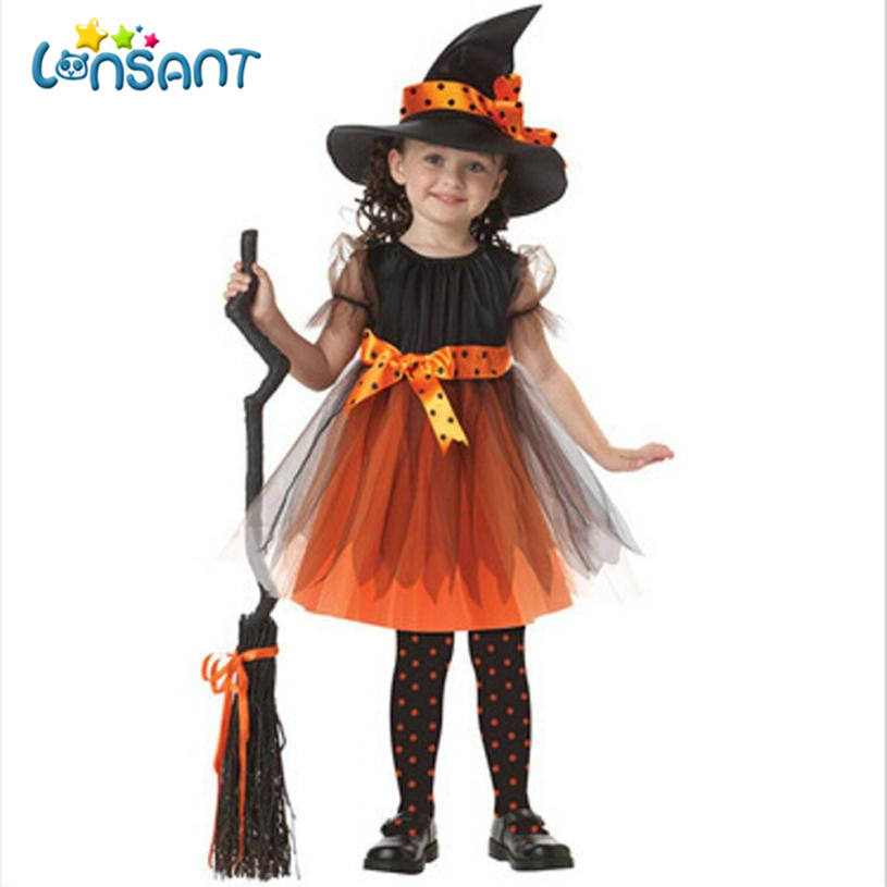LONSANT 2018 Baby Girls Halloween Clothes Costume Party Dresses+Hat 2 Pcs Novelty Fashion Vestido De Festa Infantil Dropshipping fashion baby girls designer clothes 2017 summer party sleeping spell evil kids halloween night angel fairy costume for girls