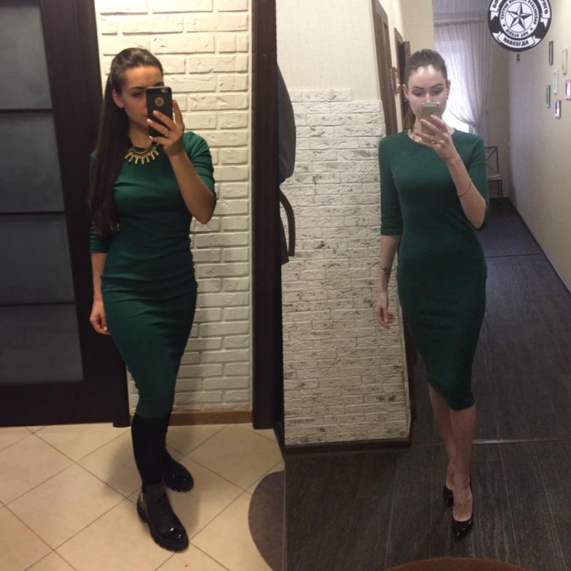 HTB1s0UOPXXXXXXOXFXXq6xXFXXXu - Colrovie работы Летний стиль Для женщин Bodycon Платья для женщин пикантные Новое поступление 2017 года Повседневное Green Crew Средства ухода за кожей шеи половина платье миди с рукавами