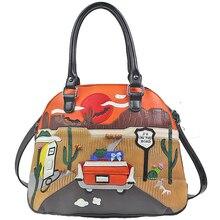Las mujeres de cuero Patchwork bordado bolsos de hombro bolsa de mensajero bolsos bolsas Braccialini marca de estilo de dibujos animados de la Ruta 66