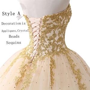 Image 4 - Angelsbridep GOLD Appliques บอลชุด Quinceanera 2020 ประกายคริสตัล Tulle ความยาวหวาน 16 Dress Debutante Gowns