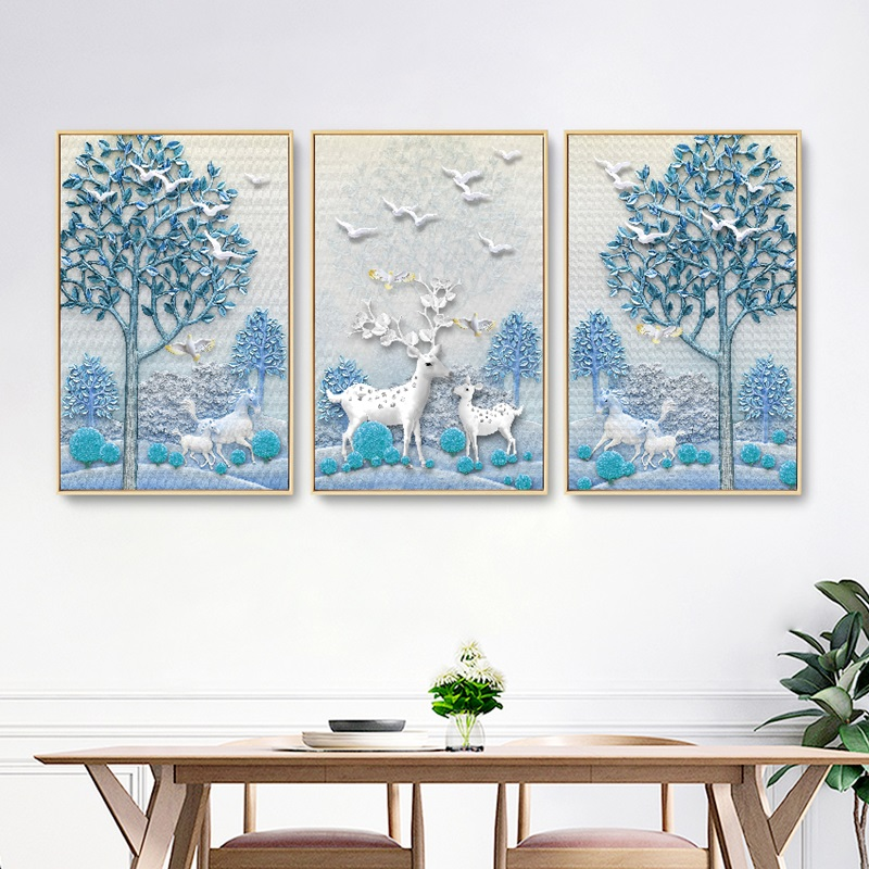 Nordic Fresh Relief Forest Elk Flying Bird Canvas Pictures Modern Home Decoration Painting Modular Wall Art Poster No Frame in Painting Calligraphy from Home Garden