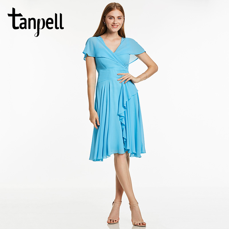 Tanpell ruffles short cocktail dress women ice blue v neck knee length gown short sleeves a line homecoming cocktail dresses