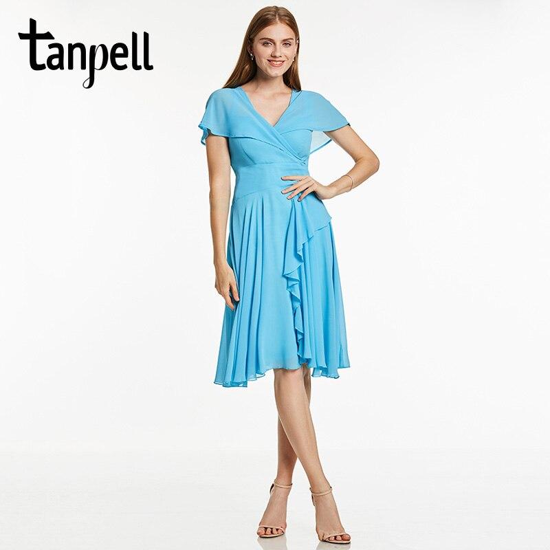 09819b969 Tanpell volantes vestido de cóctel corto azul de hielo de las mujeres V  cuello longitud de la rodilla Vestido de manga corta una línea de fiesta  vestidos de ...