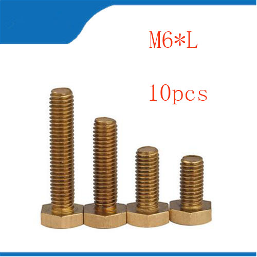 10pcs M6 m6*L Copper Metric Thread Screws DIN933 Brass Hexagon Bolt Hex Head Screw special copper screws copper hexagon bolt copper outer hexagonal screws m16 80