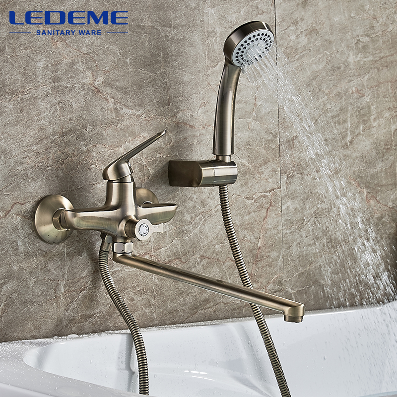 LEDEME Antique Brass Bathroom Faucet Bath Faucet Mixer Tap Wall Mounted Hand Held Shower Head Kit Shower Faucet Sets L2248C gappo classic chrome bathroom shower faucet bath faucet mixer tap with hand shower head set wall mounted g3260