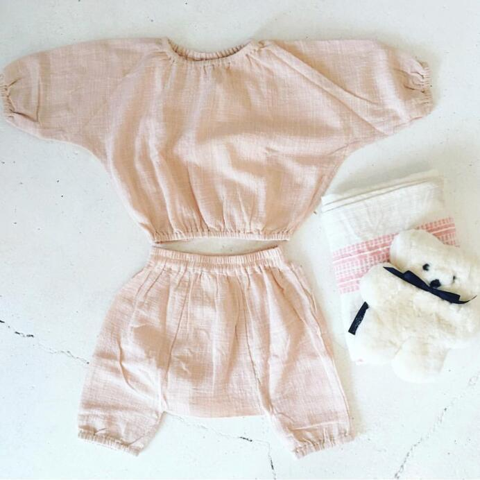 2018 Ins Girl Clothing Sets Toddler Baby Boys Sets Fashion Linen Kids Clothings ins princess girl clothings sets flare sleeve tops