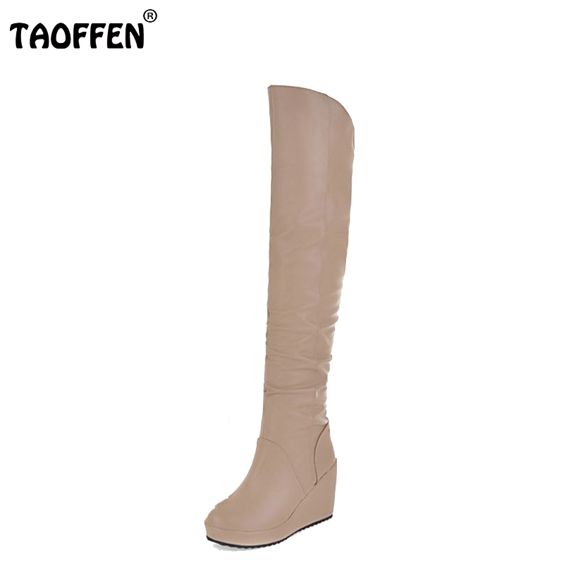 Free shipping over knee long wedge boots women snow fashion winter warm boot footwear shoes P9542 EUR size 34-39