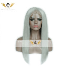 7A 130 Density Brazilian Virgin Human Hair Ombre Gray Straight Lace Full Wigs Glueless Ombre Gray Straight  Lace Full Wigs