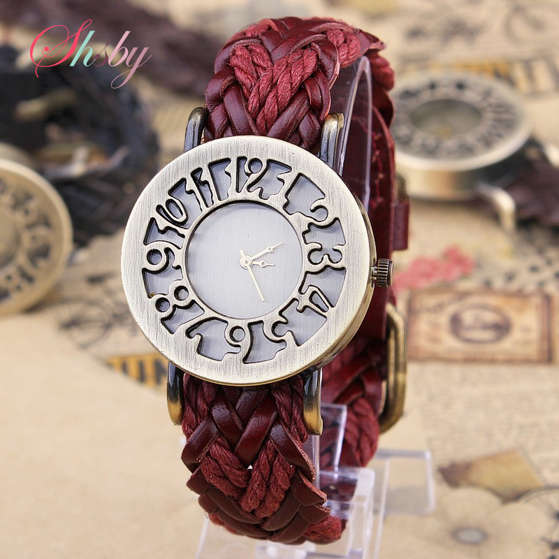 Shsby New Roma Style Vintage Digital Hollow Out  Genuine Cow Hand-woven Leather Strap Watches Women Dress Watches