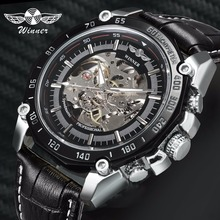 WINNER Official Military Sports Automatic Mechanical Skeleton Mens Watches Top Brand Luxury Leather Strap Fashion Wrist Watch