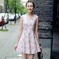 2017 Лето Женщины Элегантный Цветочный Печатных Платья Без Рукавов О-Образным Вырезом Beach Dress Vestidos De Festa Vintage Dress