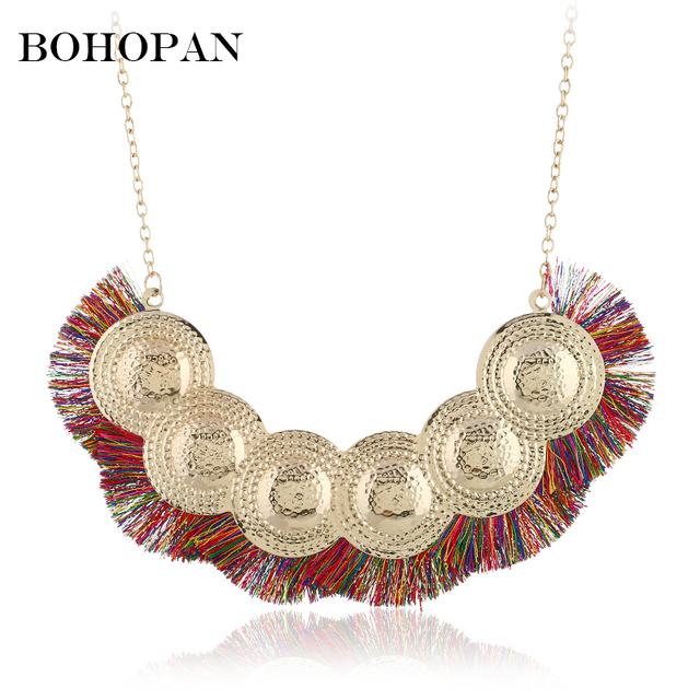 Luxury Bohemia Necklace For Women 6 Color Big Tassel Round Metal Splice Pendants Necklace Long Chain collier femme Party Gift