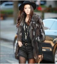 Free shipping New Silver fox coat women long natural fox fur coats winter fox fur jacket custom plus size